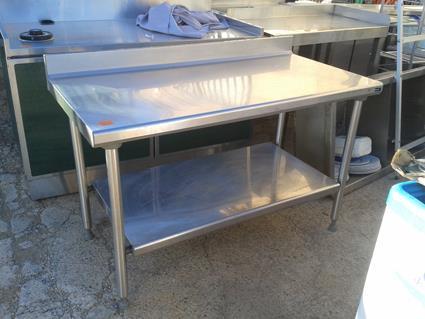 tables inox 1400 x 700 avec dosseret en france belgique. Black Bedroom Furniture Sets. Home Design Ideas