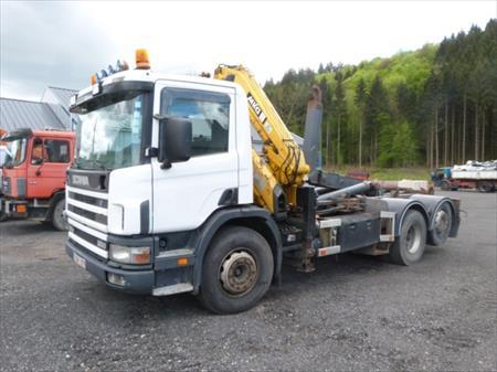 Camion scania porte container avec grue auxiliaire 506 - Camion porte container avec grue occasion ...